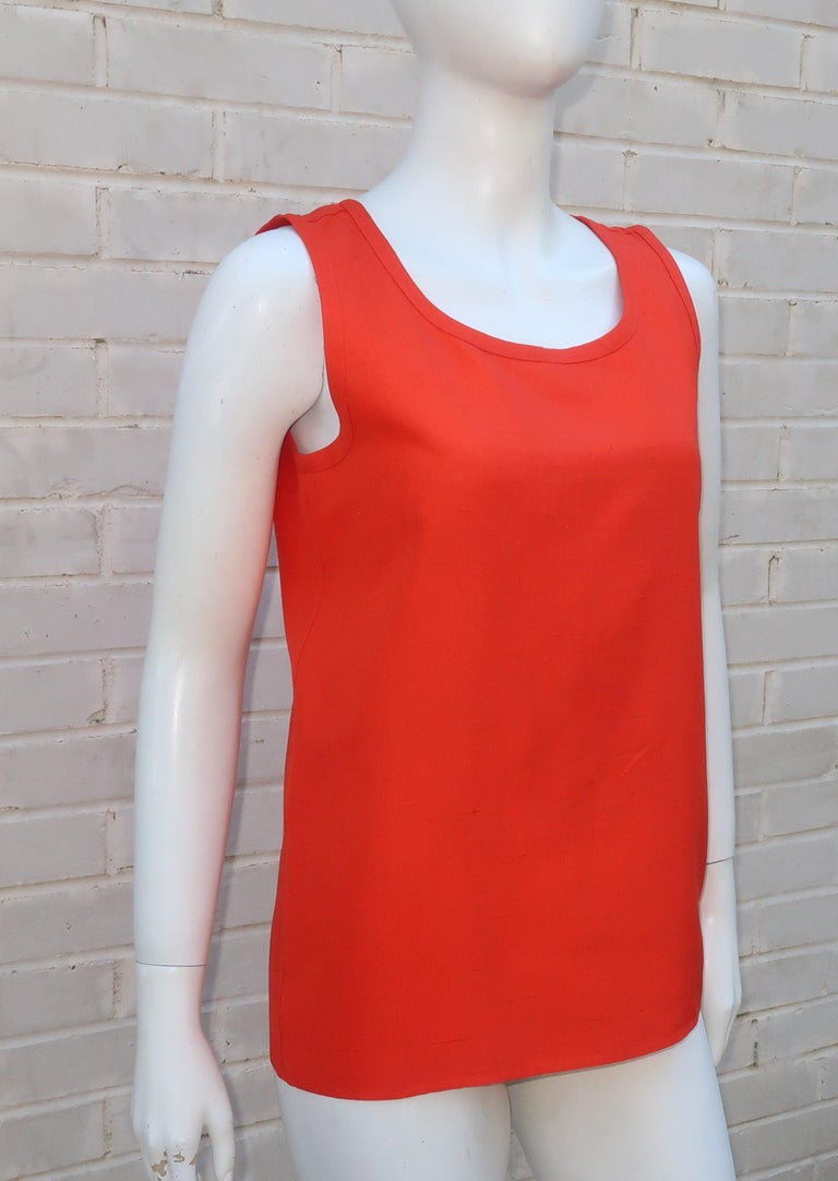 Vintage Yves Saint Laurent Orange Raw Silk Tank Top Blouse In Good Condition For Sale In Atlanta, GA