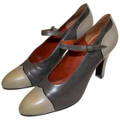 Vintage Yves Saint Laurent Paris Grey Leather Shoes