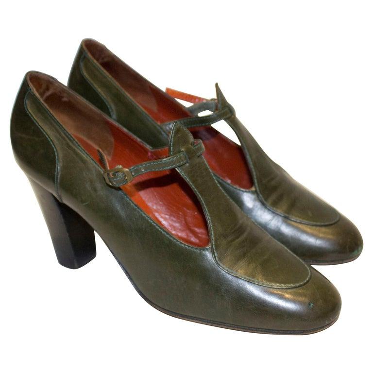 Vintage Yves Saint Laurent Paris Olive Green Leather Shoes For Sale
