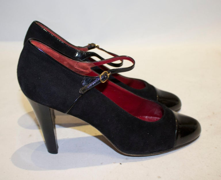 Vintage Yves Saint Laurent Paris Shoes in Black Patent and Suede, For Sale 1