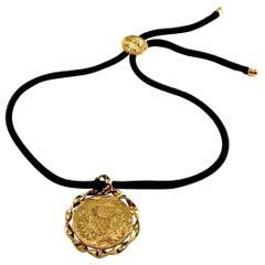 Vintage YVES SAINT LAURENT Pineapple Discs Lariat Necklace