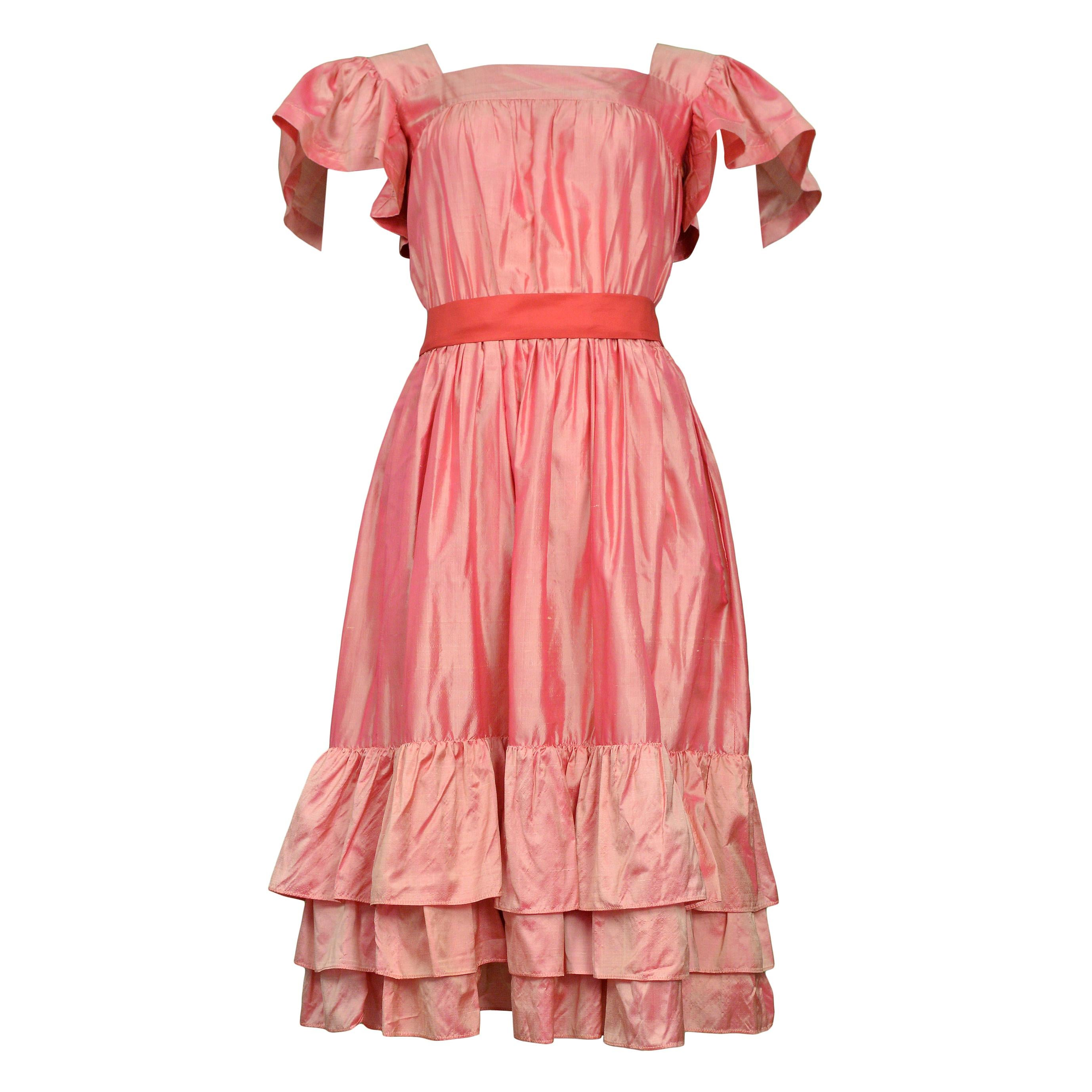 Vintage Yves Saint Laurent Pink Taffeta Party Dress