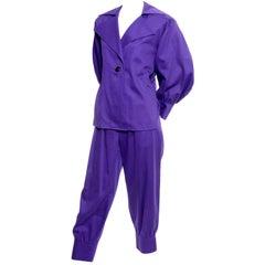 Vintage Yves Saint Laurent Purple Balloon Sleeve Jacket & Knicker Style Pants