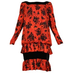 Vintage Yves Saint Laurent Red & Black Floral Print Drop Dress