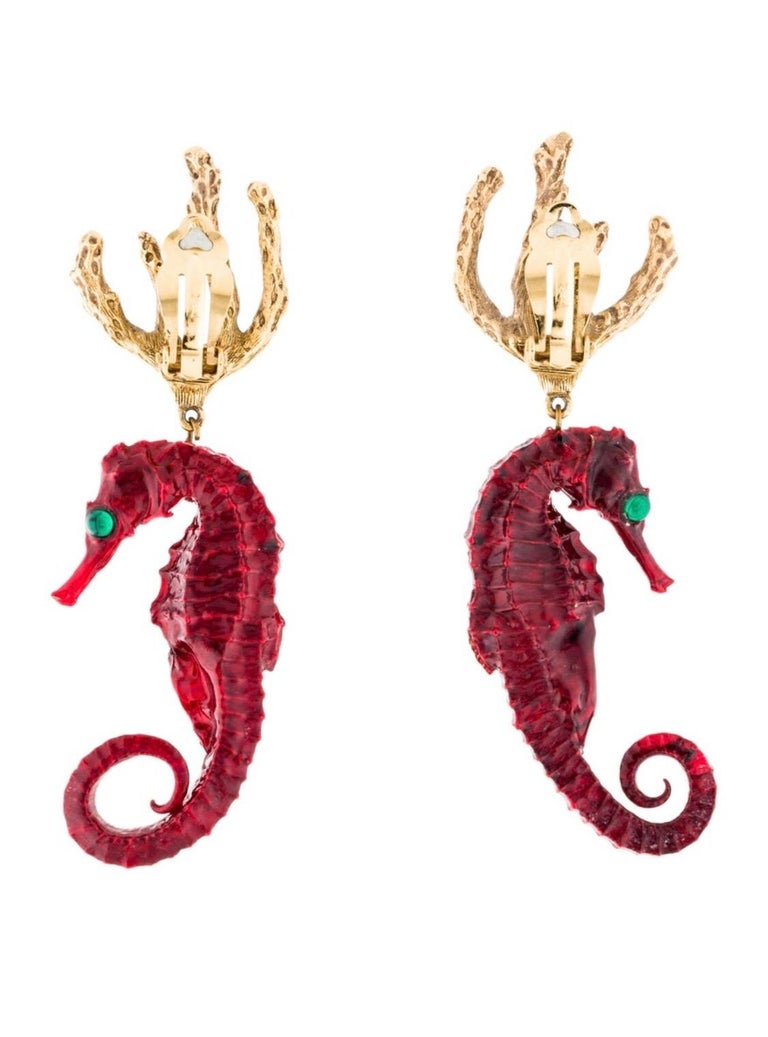 Vintage Yves Saint Laurent Red Gold Seahorse Earrings YSL In Excellent Condition For Sale In Boca Raton, FL