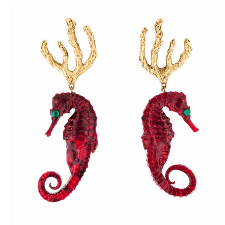 Women's Vintage Yves Saint Laurent Red Gold Seahorse Earrings YSL For Sale