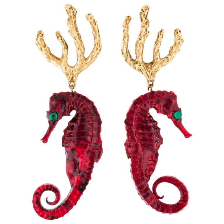 Vintage Yves Saint Laurent Red Gold Seahorse Earrings YSL For Sale
