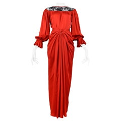 Vintage Yves Saint Laurent Red Satin & Black Lace Ensemble