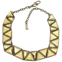 Vintage YVES SAINT LAURENT Resin Geometric Necklace by Robert Goossens