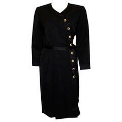 Vintage Yves Saint Laurent Rive Gauche Black Cocktail Dress