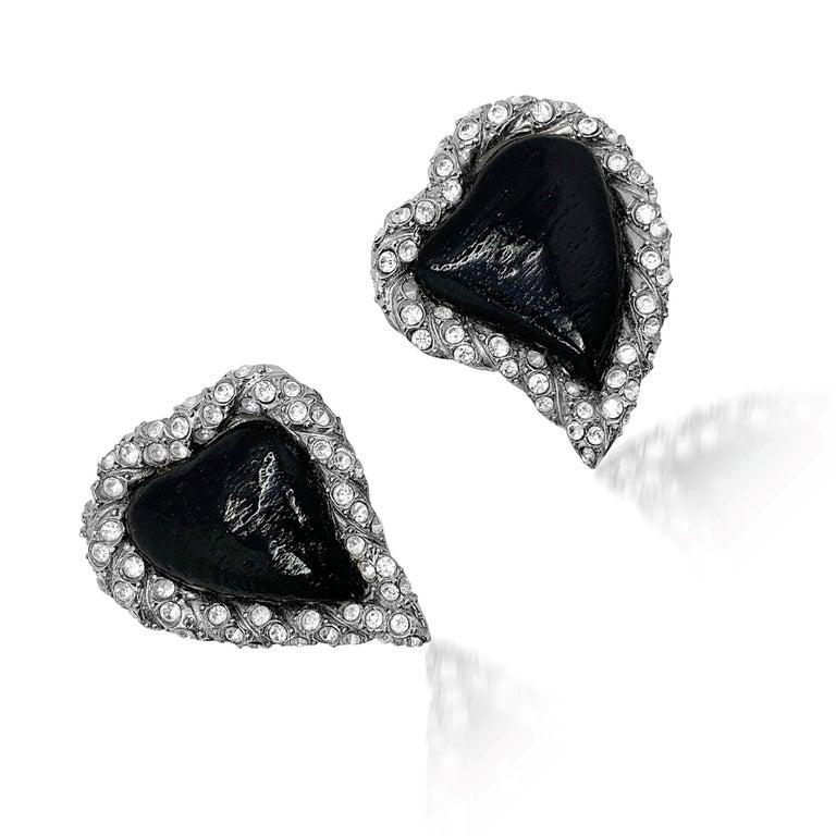 Spectacular Vintage YSL Heart Earrings from the illustrious Rive Gauche line. The heart, the symbol of the House of Yves Saint Laurent since the 1960s is the most perfect expression of YSL style and design. From Yves' incredible Love poster designs