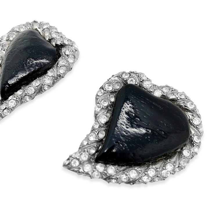 Vintage Yves Saint Laurent Rive Gauche Black Heart Earrings 1980s In Good Condition For Sale In Wilmslow, GB