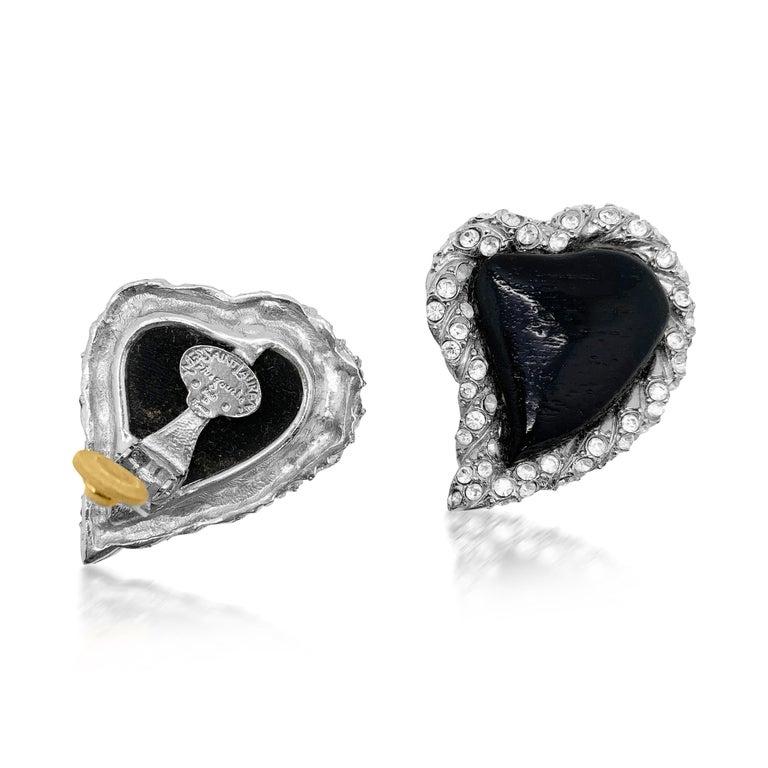 Women's or Men's Vintage Yves Saint Laurent Rive Gauche Black Heart Earrings 1980s For Sale