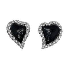 Vintage Yves Saint Laurent Rive Gauche Black Heart Earrings 1980s