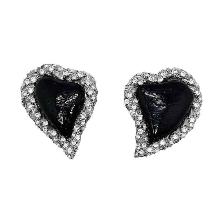 Vintage Yves Saint Laurent Rive Gauche Black Heart Earrings 1980s For Sale