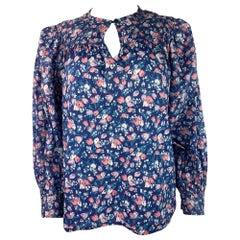 Vintage Yves Saint Laurent Rive Gauche Blue Floral Blouse Top Size 38