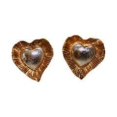 Vintage Yves Saint Laurent Rive Gauche Heart Earrings