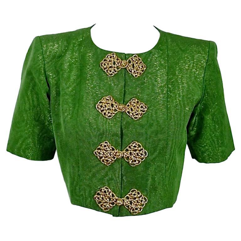 Vintage YVES SAINT LAURENT Rive Gauche Metallic Oriental Cropped Jacket