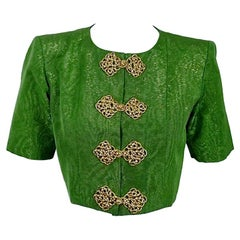 Vintage YVES SAINT LAURENT Rive Gauche Metallic Oriental Cropped Jacket