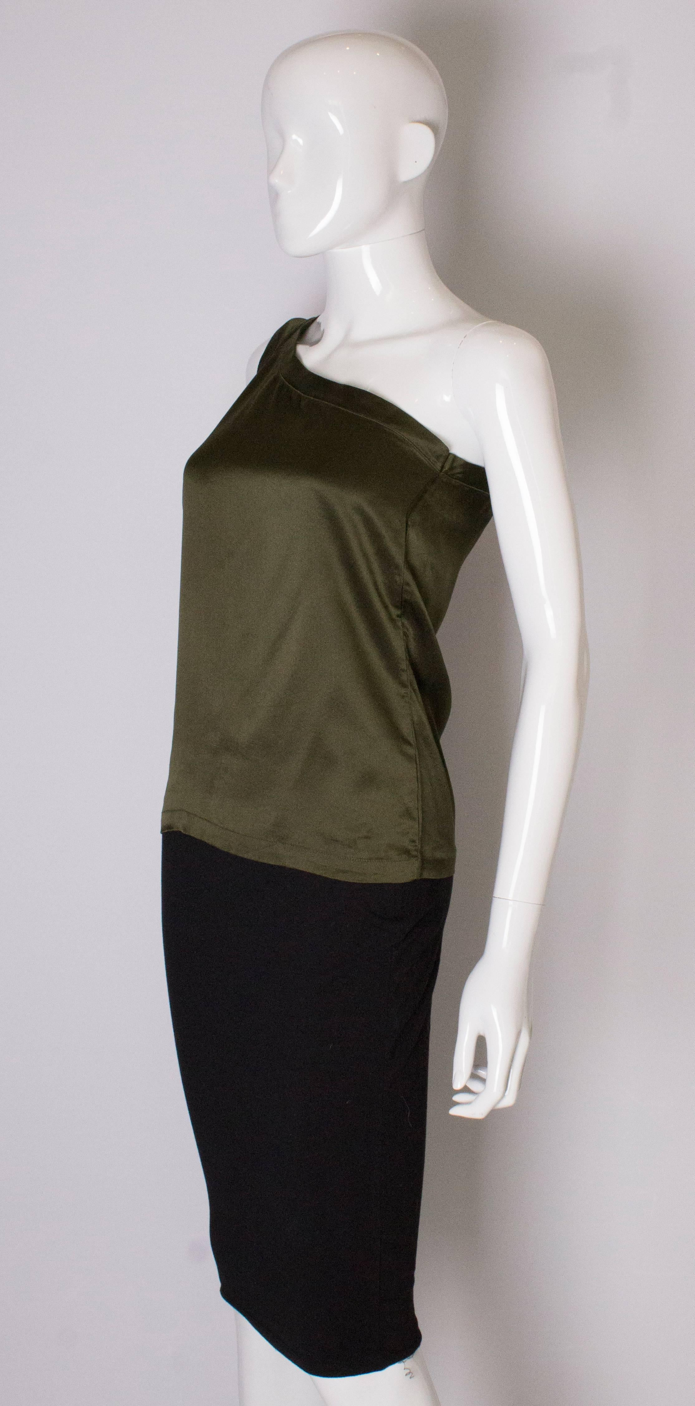 ac61bb36f02d1 A Vintage 1990s olive green one shoulder silk top by Yves Saint Laurent at  1stdibs