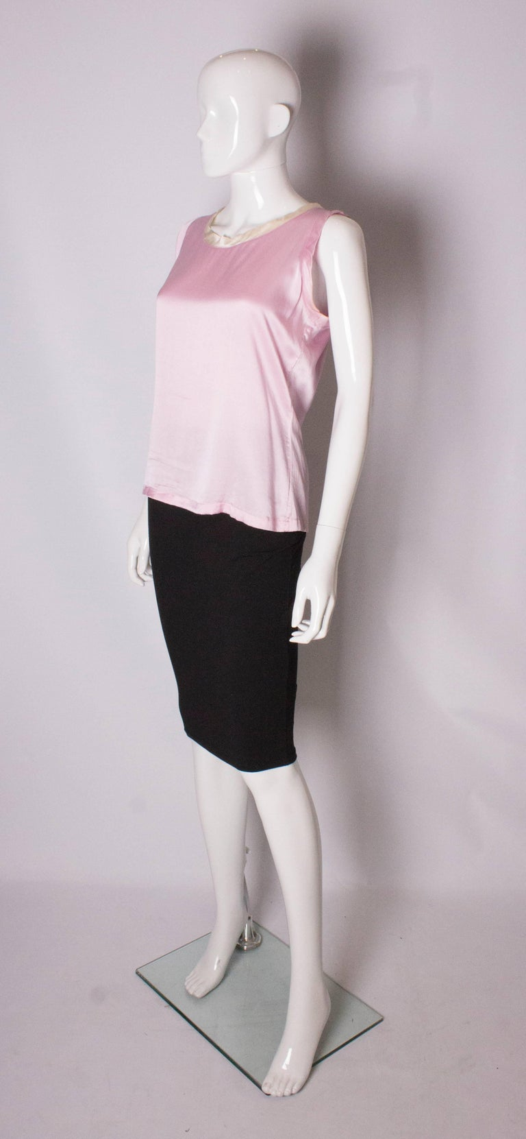 Beige Vintage Yves Saint Laurent Rive Gauche Pink and White Silk Top For Sale