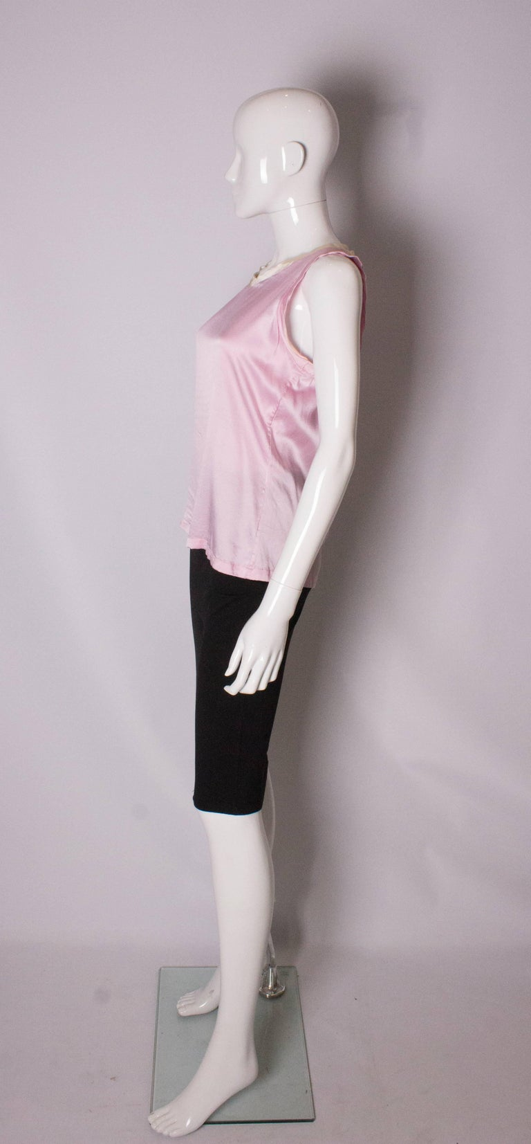 Women's Vintage Yves Saint Laurent Rive Gauche Pink and White Silk Top For Sale