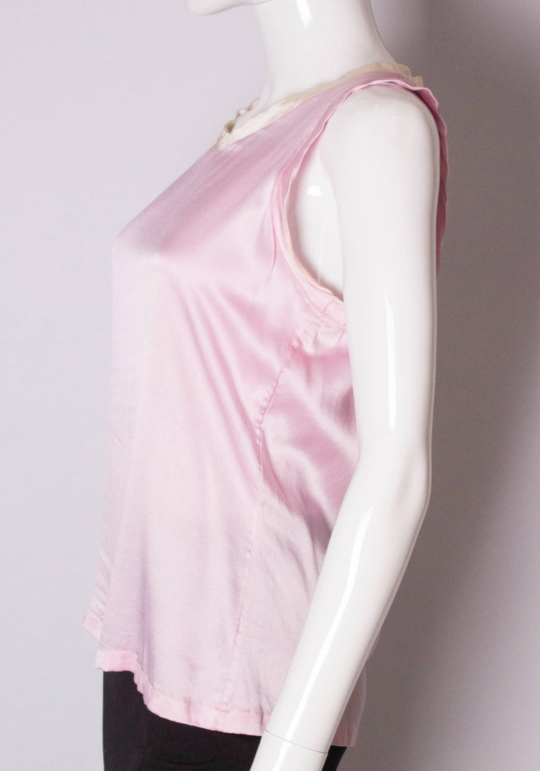 Vintage Yves Saint Laurent Rive Gauche Pink and White Silk Top For Sale 1