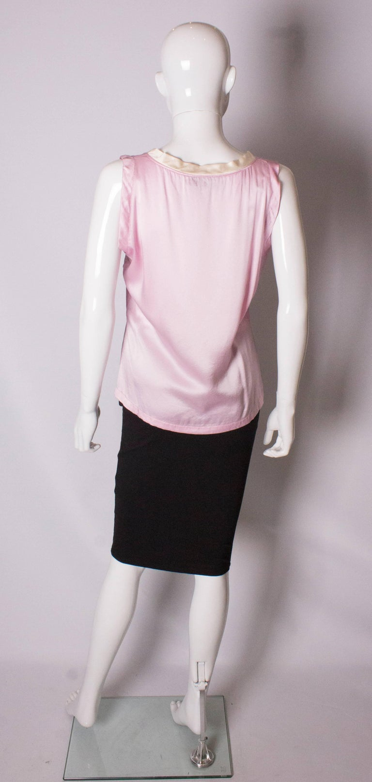 Vintage Yves Saint Laurent Rive Gauche Pink and White Silk Top For Sale 2