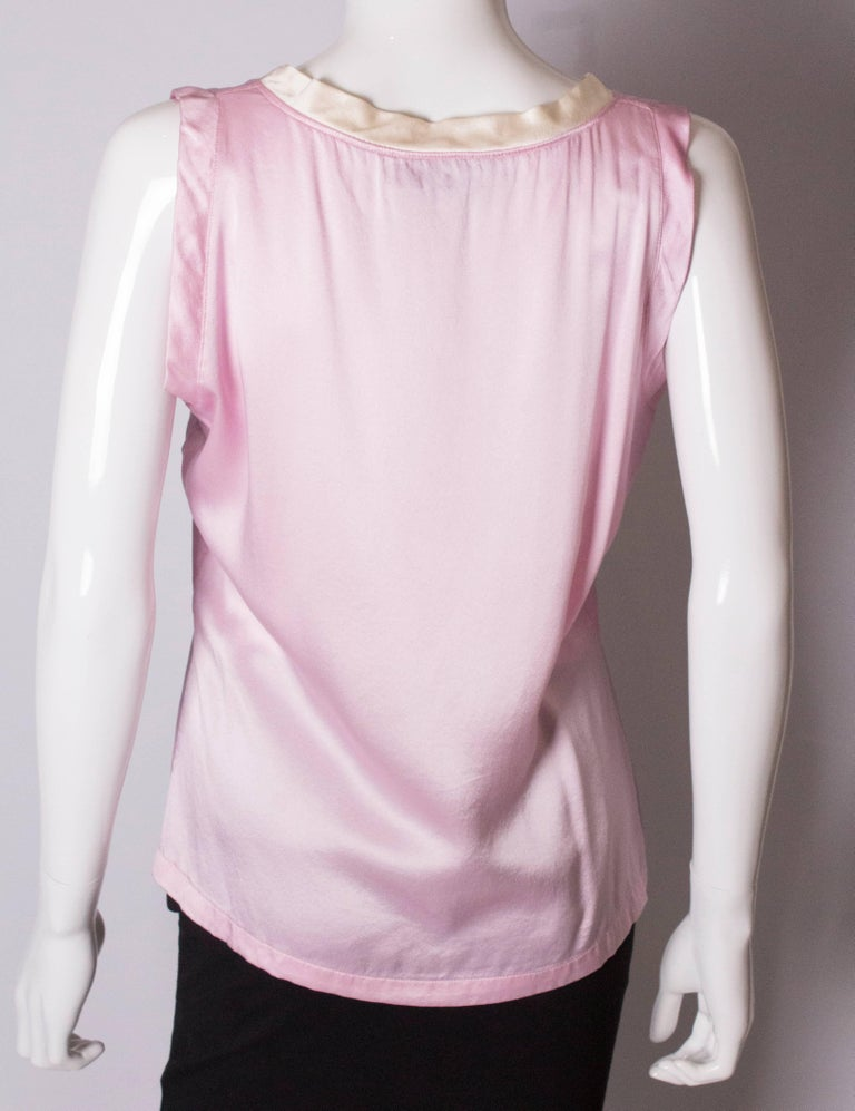 Vintage Yves Saint Laurent Rive Gauche Pink and White Silk Top For Sale 3