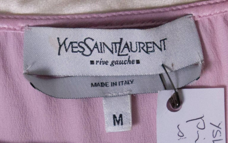 Vintage Yves Saint Laurent Rive Gauche Pink and White Silk Top For Sale 4