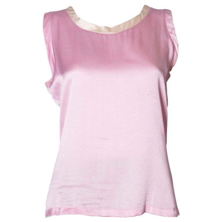 Vintage Yves Saint Laurent Rive Gauche Pink and White Silk Top For Sale
