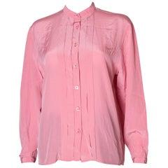 Vintage Yves Saint Laurent Rive Gauche Pink Silk Blouse