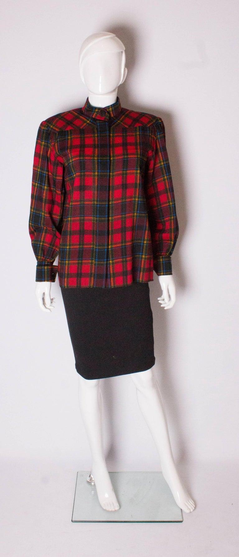 Black Vintage Yves Saint Laurent, Rive Gauche  Red Check Blouse For Sale