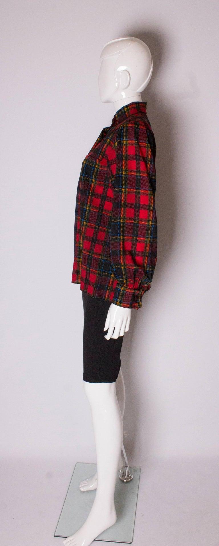 Women's Vintage Yves Saint Laurent, Rive Gauche  Red Check Blouse For Sale