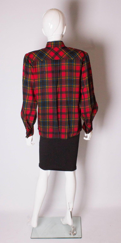 Vintage Yves Saint Laurent, Rive Gauche  Red Check Blouse For Sale 1