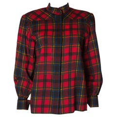 Vintage Yves Saint Laurent, Rive Gauche  Red Check Blouse