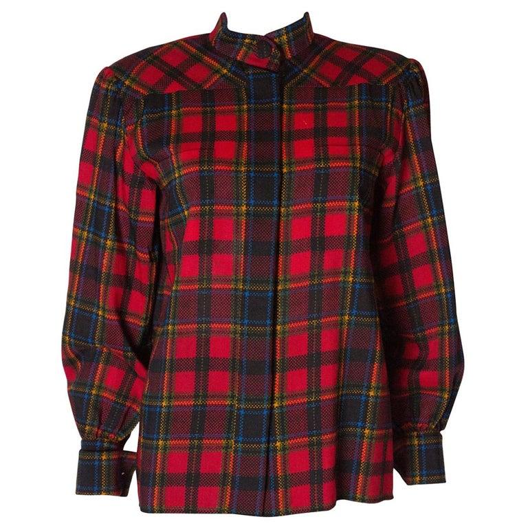 Vintage Yves Saint Laurent, Rive Gauche  Red Check Blouse For Sale