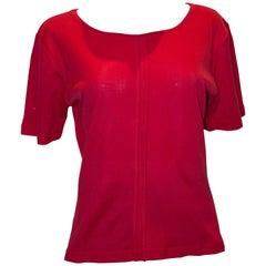 Vintage Yves Saint Laurent Rive Gauche Red  Cotton Top