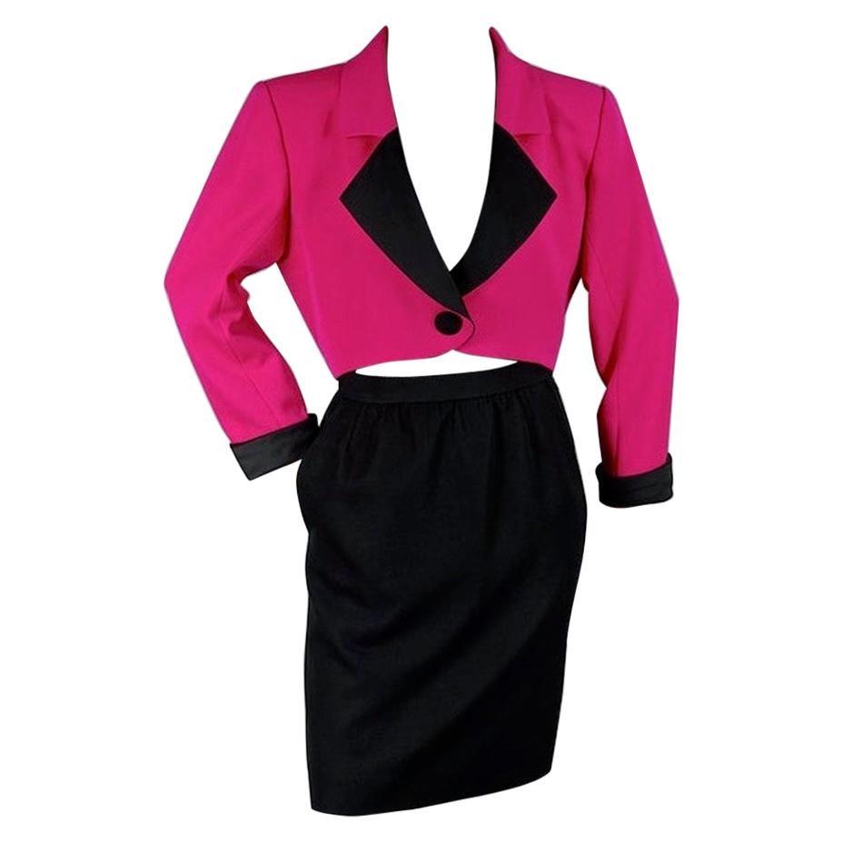 Vintage YVES SAINT LAURENT Rive Gauche Spencer Jacket Skirt Smoking Suit