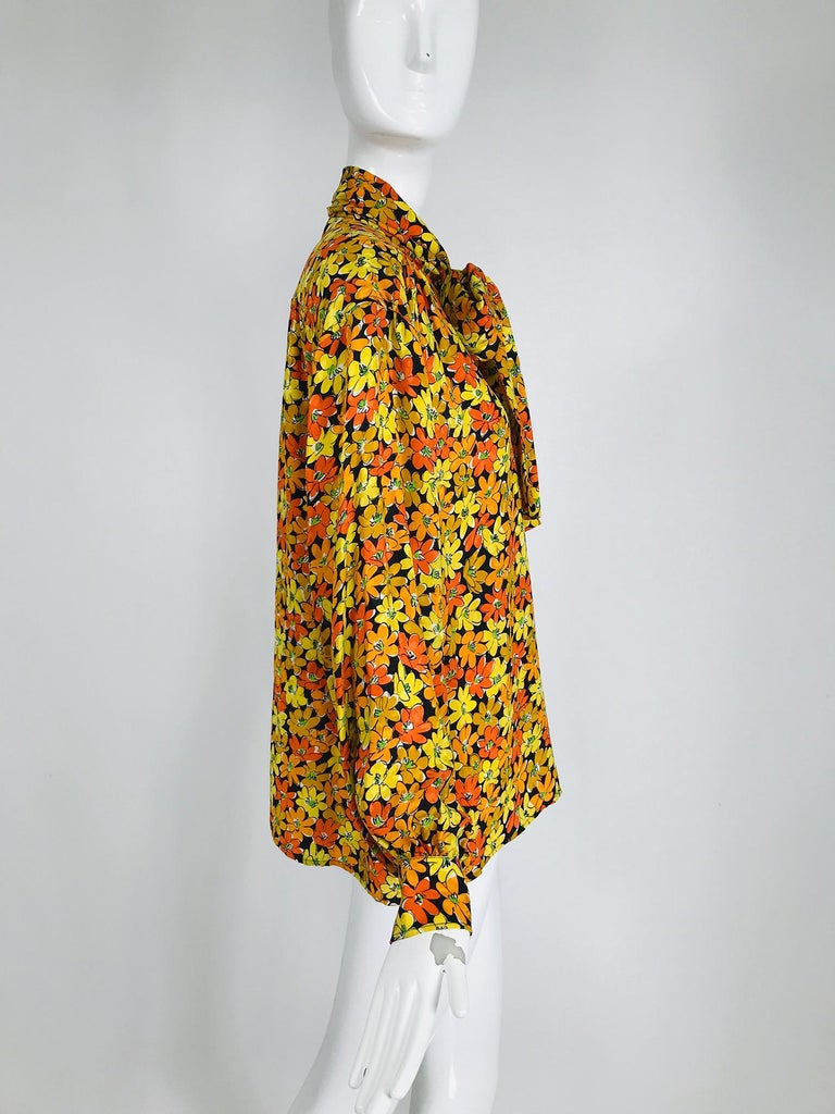 Women's Vintage Yves Saint Laurent Rive Gauche Vibrant Floral Silk Print Bow Tie Blouse  For Sale