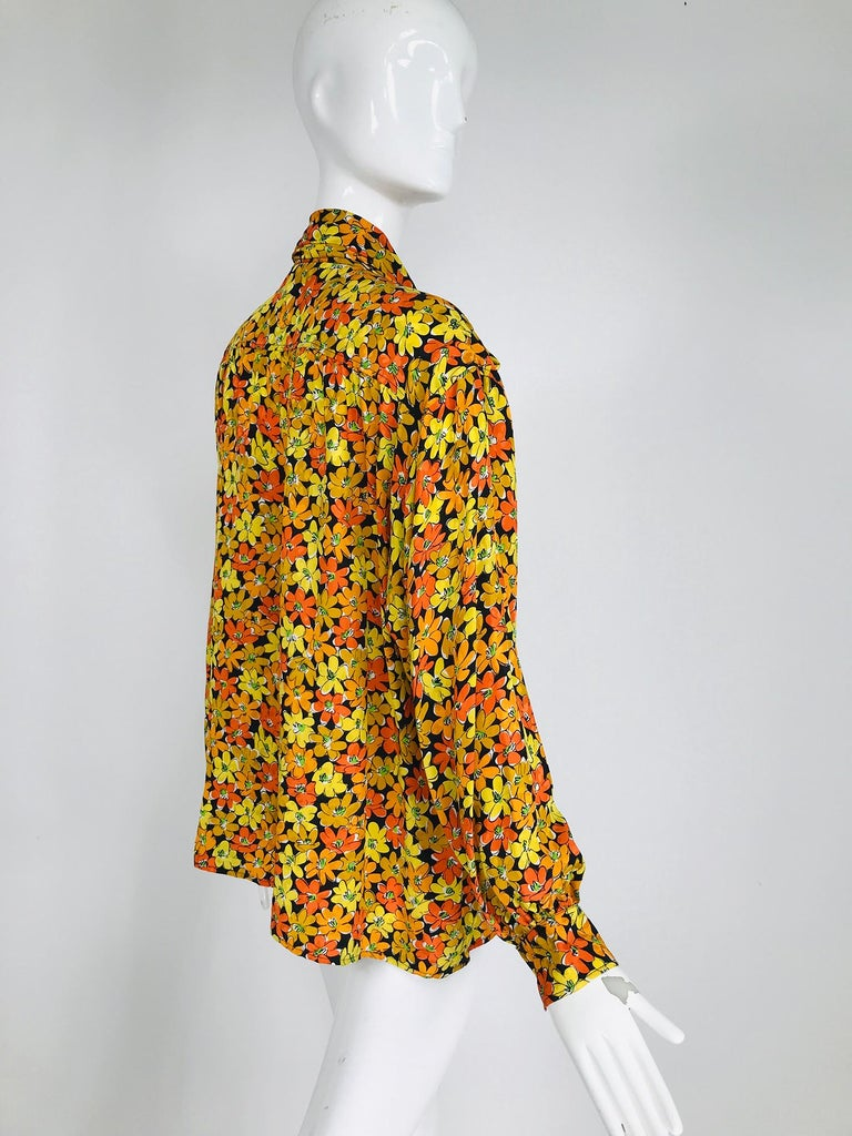 Vintage Yves Saint Laurent Rive Gauche Vibrant Floral Silk Print Bow Tie Blouse  For Sale 1
