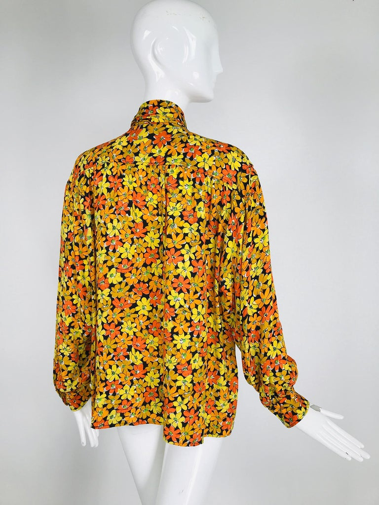 Vintage Yves Saint Laurent Rive Gauche Vibrant Floral Silk Print Bow Tie Blouse  For Sale 2