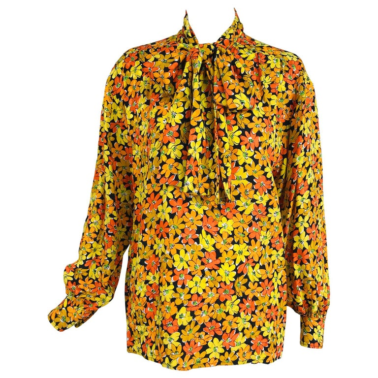 Vintage Yves Saint Laurent Rive Gauche Vibrant Floral Silk Print Bow Tie Blouse  For Sale