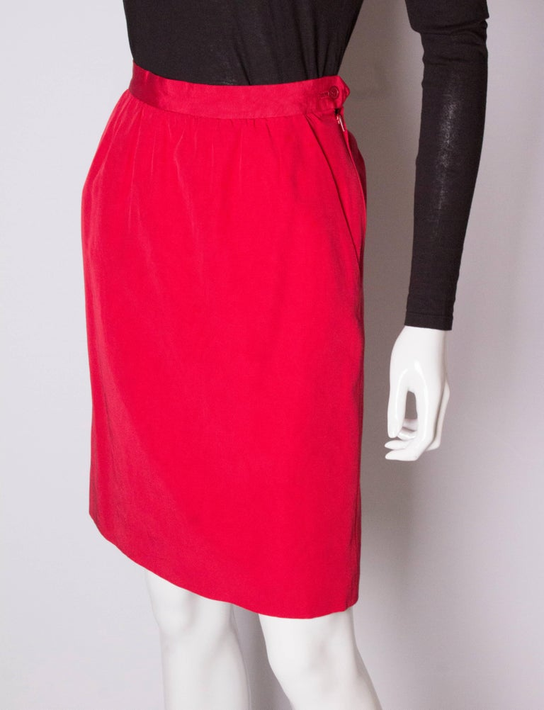 Vintage Yves Saint Laurent, Rive Gauche Vintage Red Skirt In Good Condition For Sale In London, GB