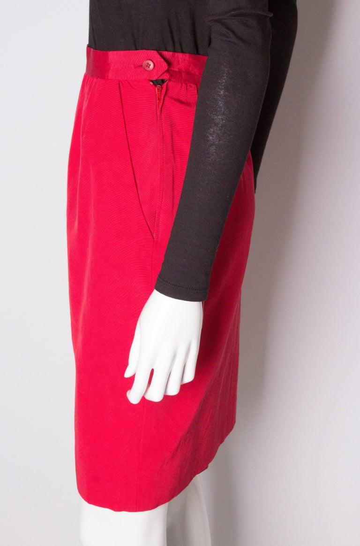 Vintage Yves Saint Laurent, Rive Gauche Vintage Red Skirt For Sale 1