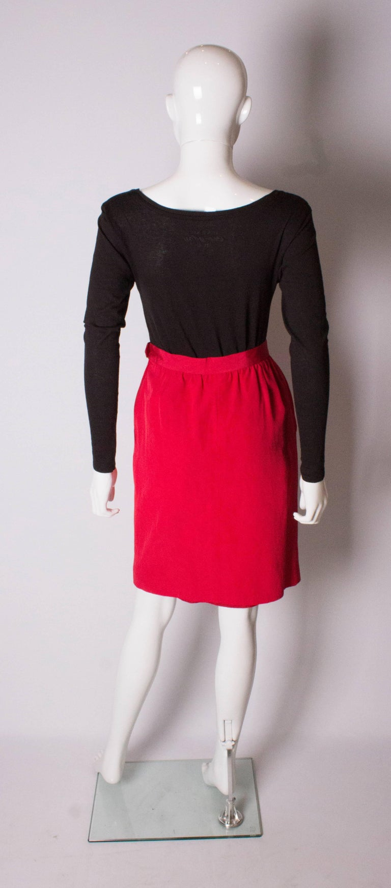 Vintage Yves Saint Laurent, Rive Gauche Vintage Red Skirt For Sale 2
