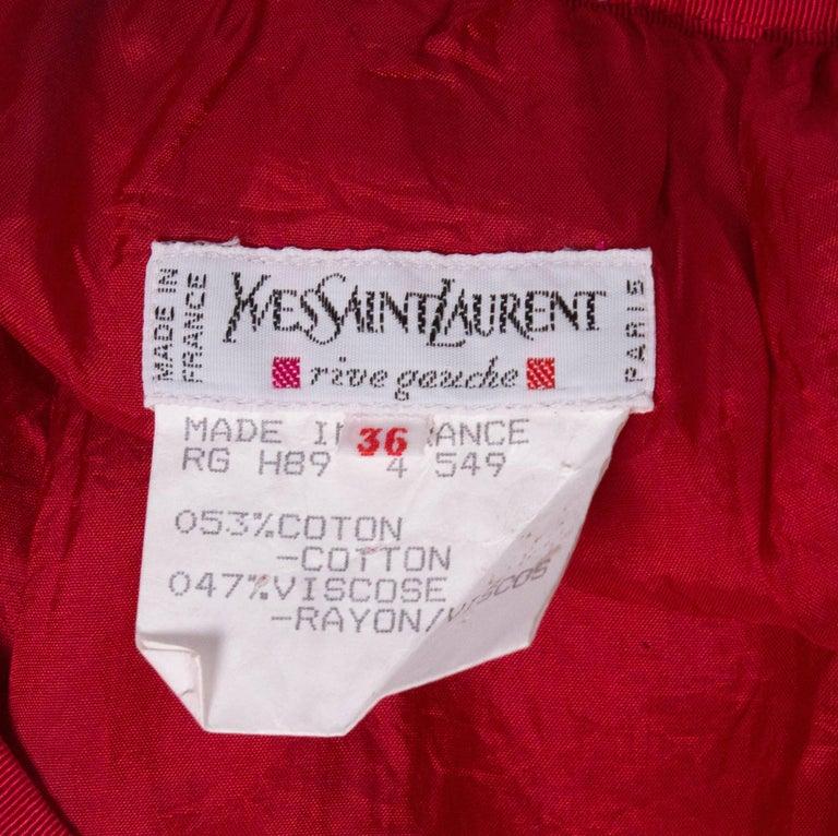 Vintage Yves Saint Laurent, Rive Gauche Vintage Red Skirt For Sale 3