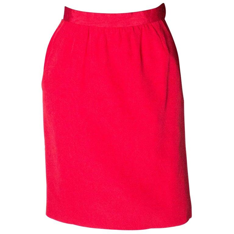 Vintage Yves Saint Laurent, Rive Gauche Vintage Red Skirt For Sale