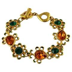 Vintage YVES SAINT LAURENT Robert Goossens Flower Rhinestone Enamel Bracelet