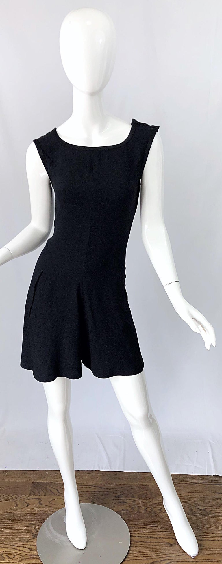 Vintage Yves Saint Laurent Romper Black Rayon Sleeveless 1990s One Piece 90s  For Sale 6